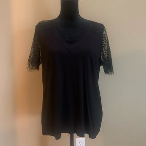 Forever 21 lace short sleeve blouse sz L blk